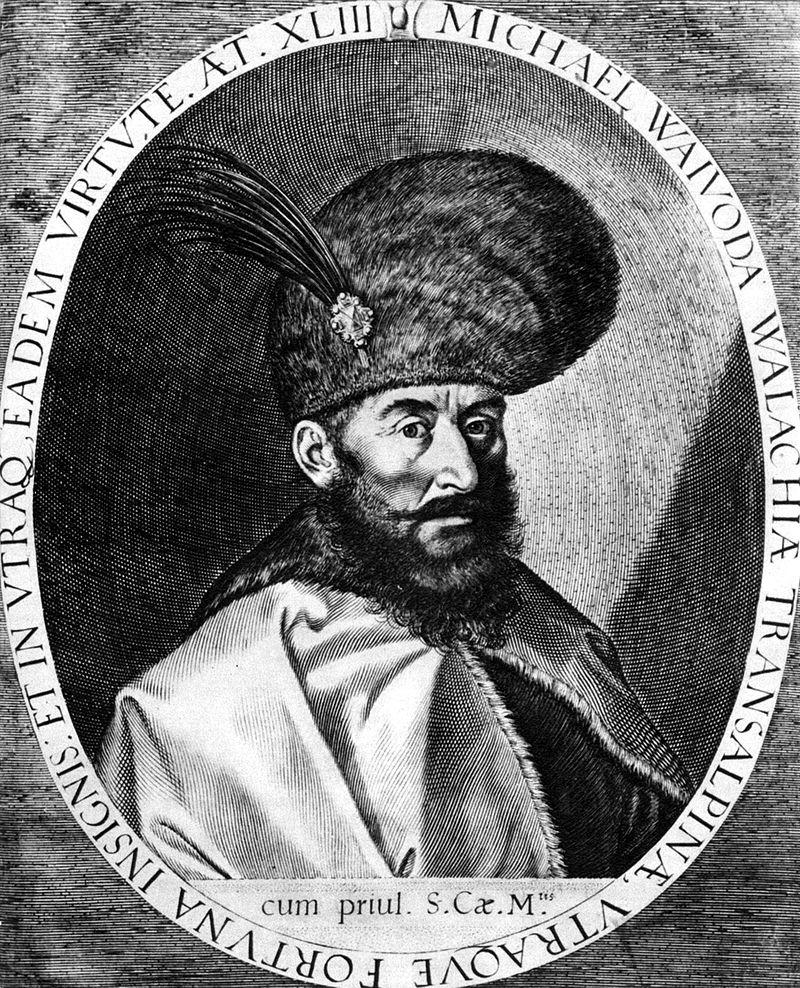 Portretul voievodului Mihai realizat de Egidius Sadeler, la Praga in 1601, sursa Wikipedia.