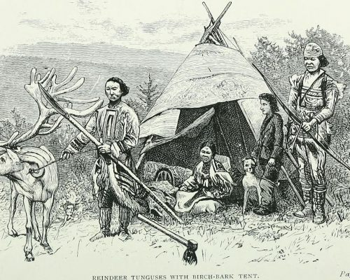 through_siberia-_1883-_reindeer_tunguses_with_birch-bark_tent