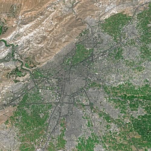 Damasc din SPOT Satellite. Autor Cnes - Spot Image, sursă Wikipedia.