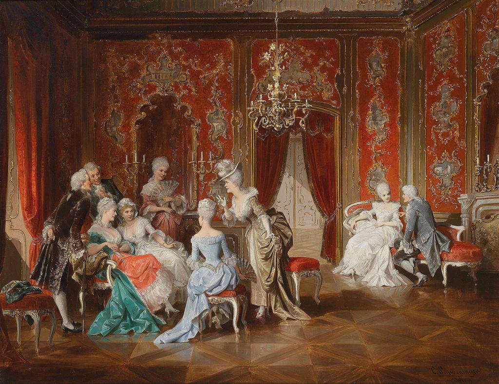 Autor picură Carl Schweninger jr. (1854-1903), Conversaţie într-un salon, sursă Dorotheum, Wikipedia.