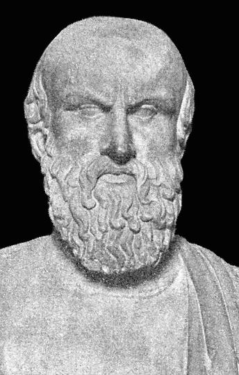 Bustul din marmură a lui Eschil de la muueul Capitolino din Roma, Italia. Sursă Wikipedia.
