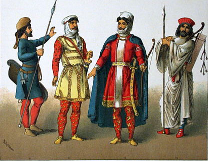 Perşi în costume naţionale. Autor Albert Kretschmer, Royal Court Theatre, Berin, şi dr. Carl Rohrbach. Sursă Wikipedia, Costumes of All Nations (1882).