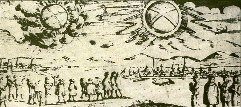 Gravură reprezentând un OZN în 1697